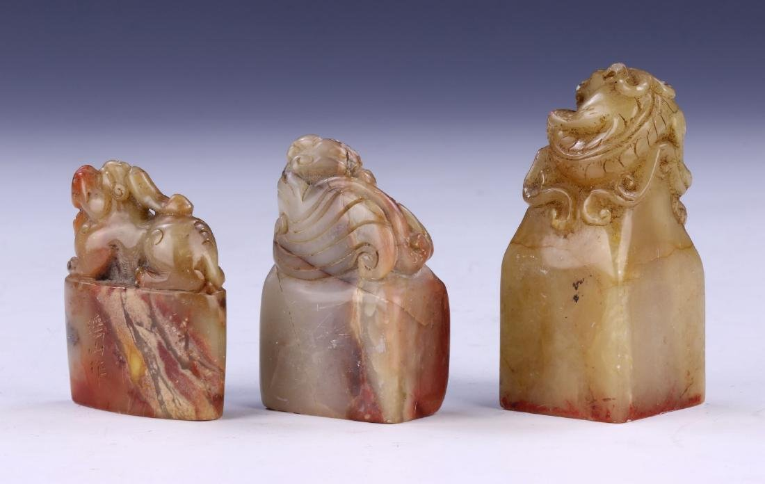 THREE (3) CHINESE SOAPSTONE CARVED SEALS - 2