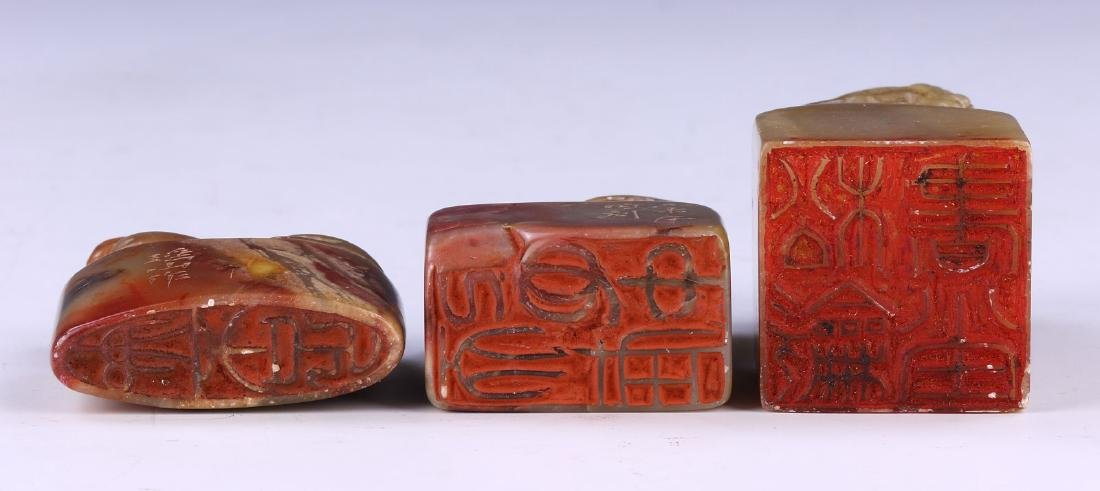 THREE (3) CHINESE SOAPSTONE CARVED SEALS - 4