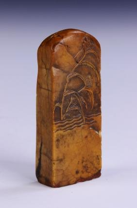 A CHINESE ANTIQUE SHOUSHAN SOAPSTONE SEAL