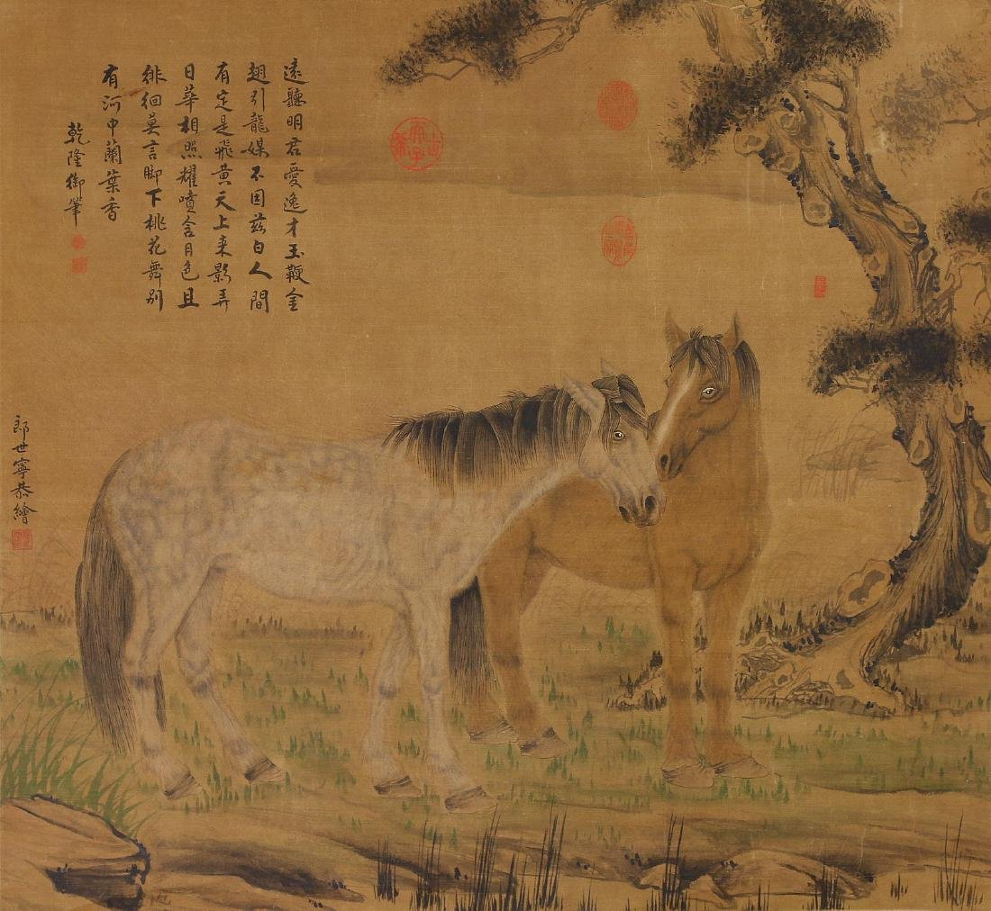 A CHINESE ANTIQUE PAPER HANGING PAINTING SCROLL BY