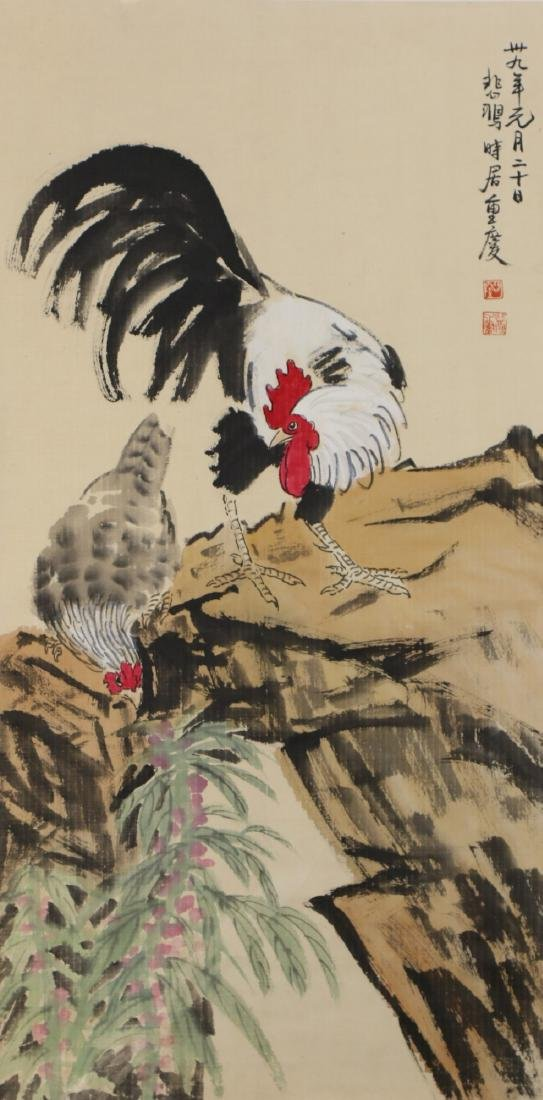 A CHINESE PAPER HANGING PAINTING SCROLL BY XU, BEIHONG