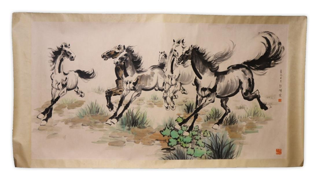 A LARGE PAPER PAINTING SCROLL BY XU, BEIHONG - 7