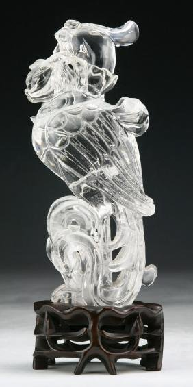 A CHINESE ANTIQUE CRYSTAL CARVED PHOENIX