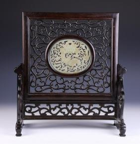 A CHINESE ANTIQUE JADE-INSET WOOD TABLE SCREEN