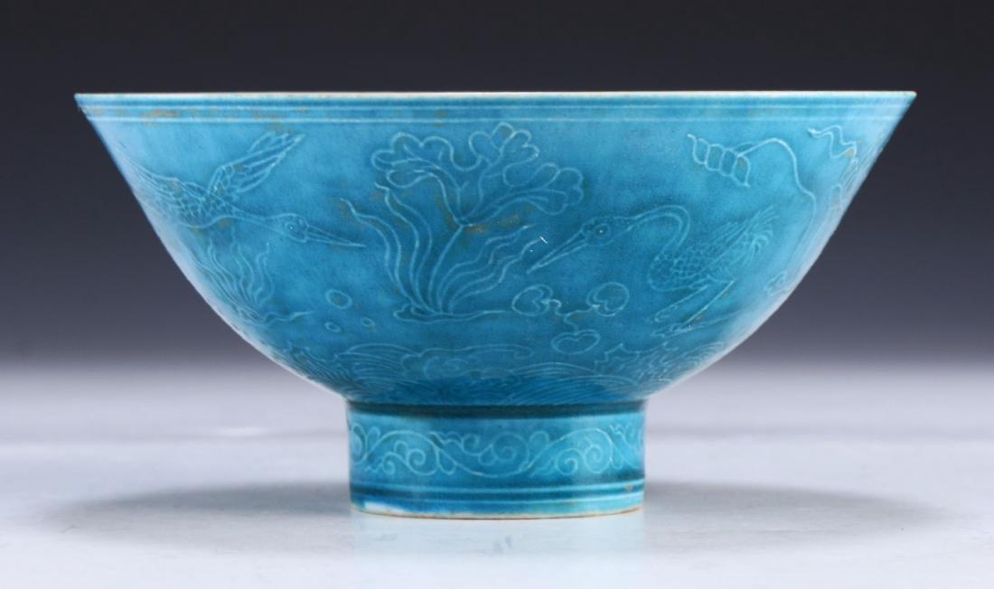 A CHINESE ANTIQUE BLUE GLAZED STEM BOWL - 2