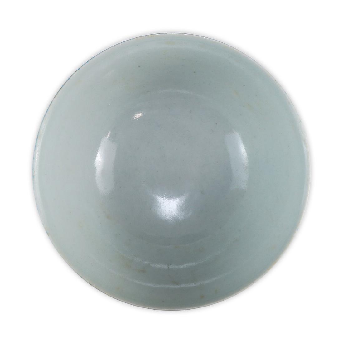 A CHINESE ANTIQUE BLUE GLAZED STEM BOWL - 3