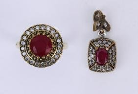 TWO (2) RUBY PENDANT & RING SET