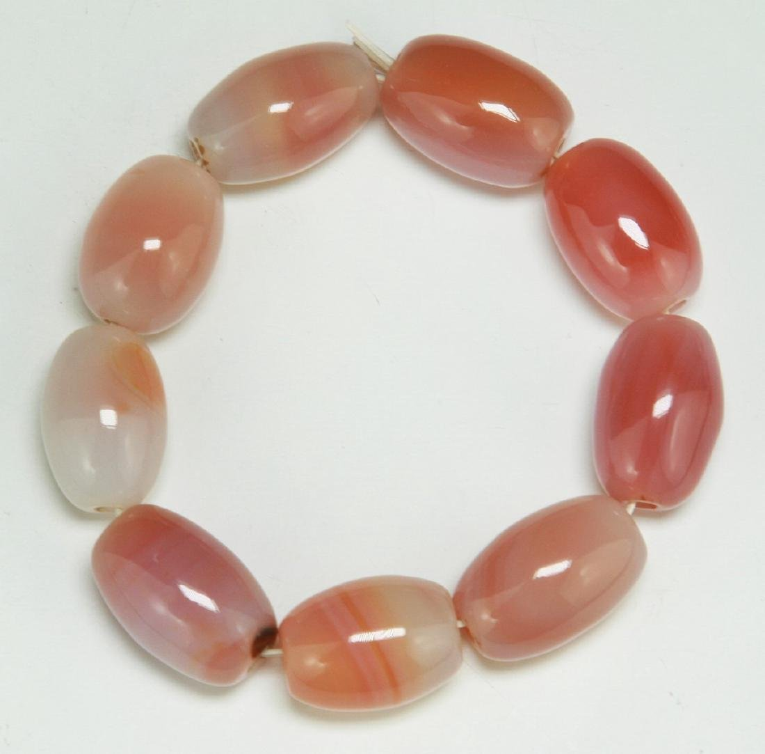 PAIR AGATE BEADED BRACELETS - 2