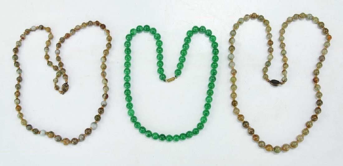 THREE (3) JADE OR STONE BEADED NECKLACES