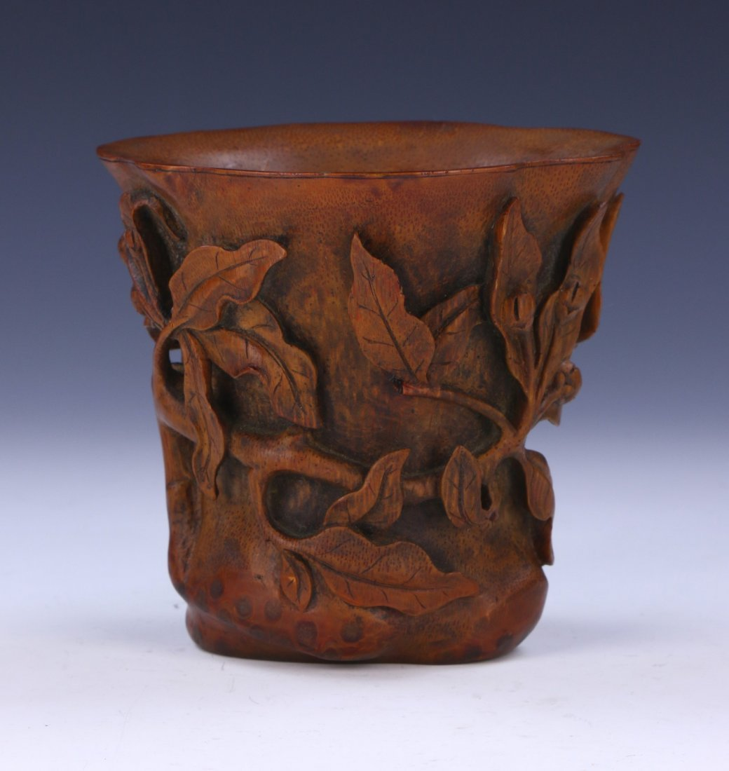 A CHINESE BAMBOO CARVED LIBATION CUP