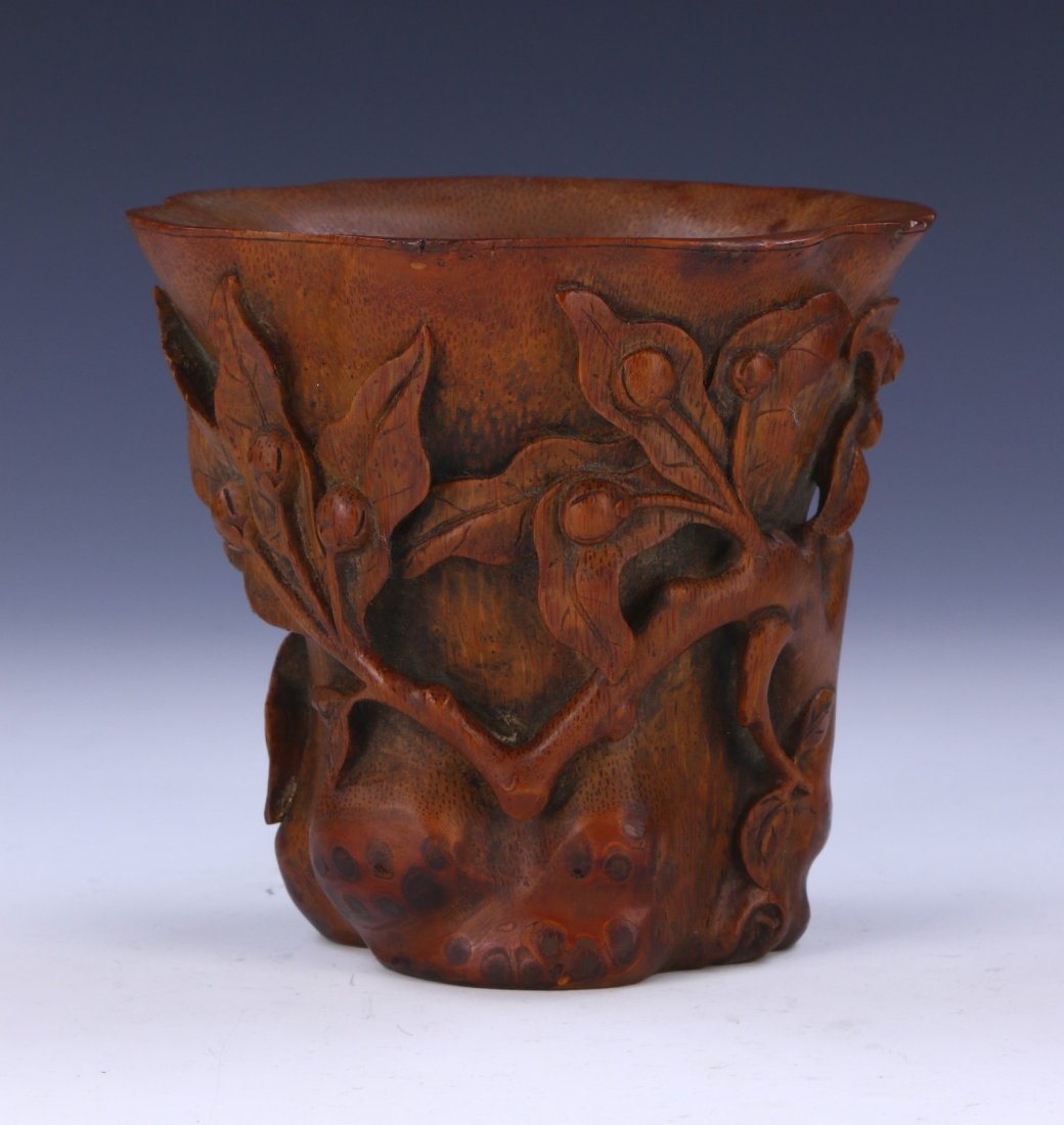 A CHINESE BAMBOO CARVED LIBATION CUP - 2