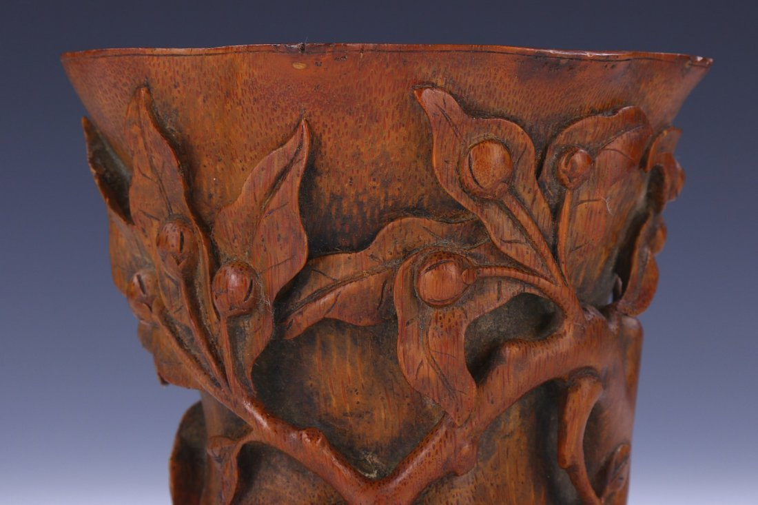 A CHINESE BAMBOO CARVED LIBATION CUP - 3