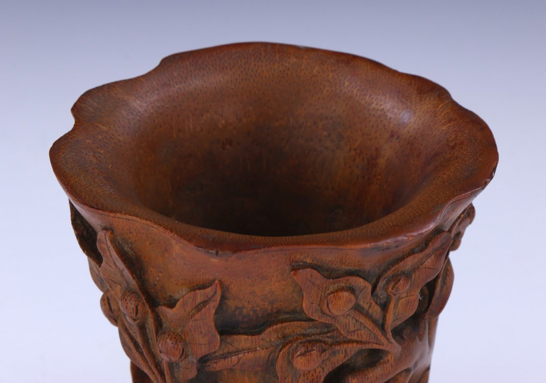 A CHINESE BAMBOO CARVED LIBATION CUP - 4
