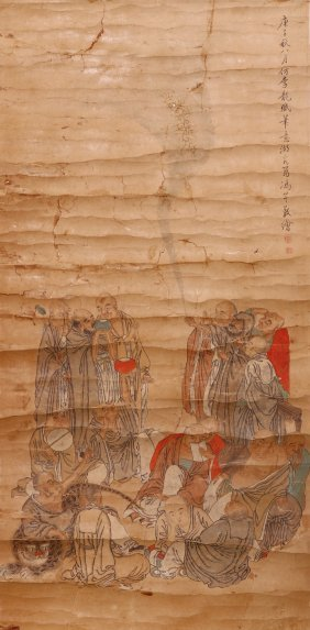 A CHINESE ANTIQUE UNMOUNTED PAPER PAINTING