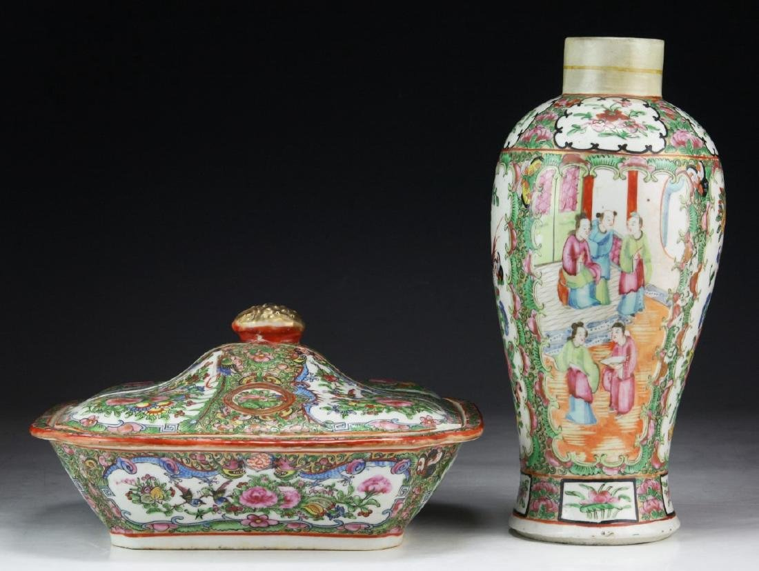 TWO (2) CHINESE ROSE MEDALLION PORCELAIN VASE & LIDDED