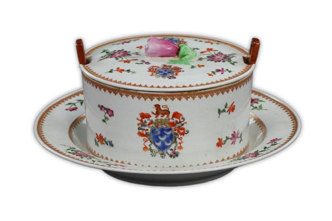 TWO (2) CHINESE FAMILLE ROSE PORCELAIN LIDDED BOWL &