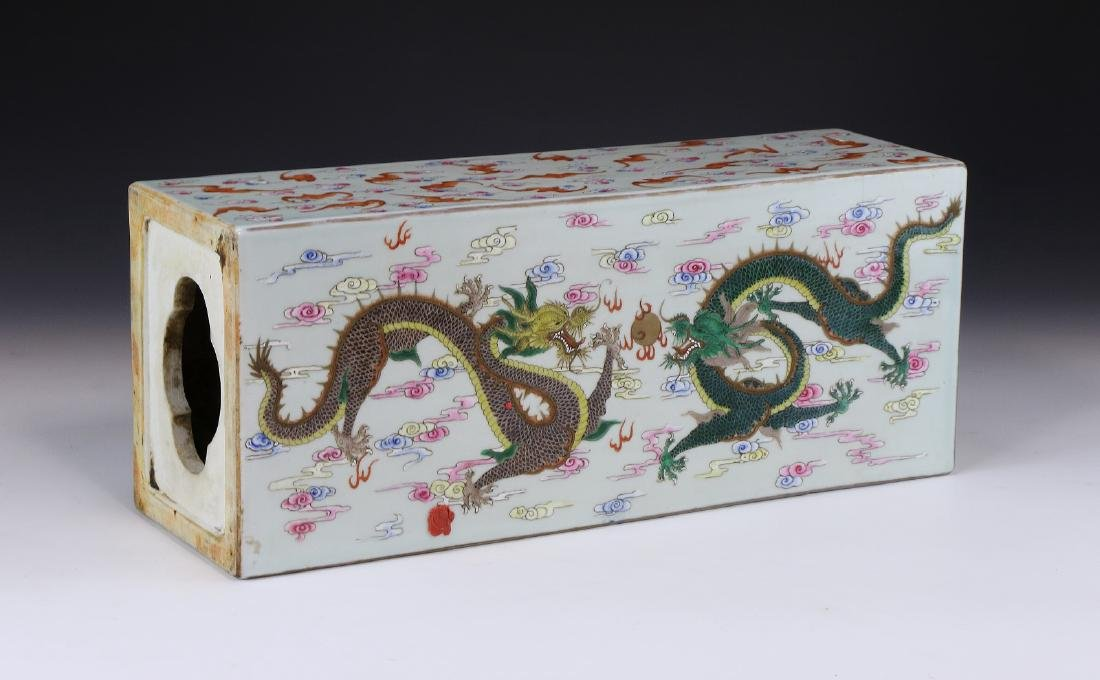 A Chinese Antique Famille Rose Porcelain Pillow