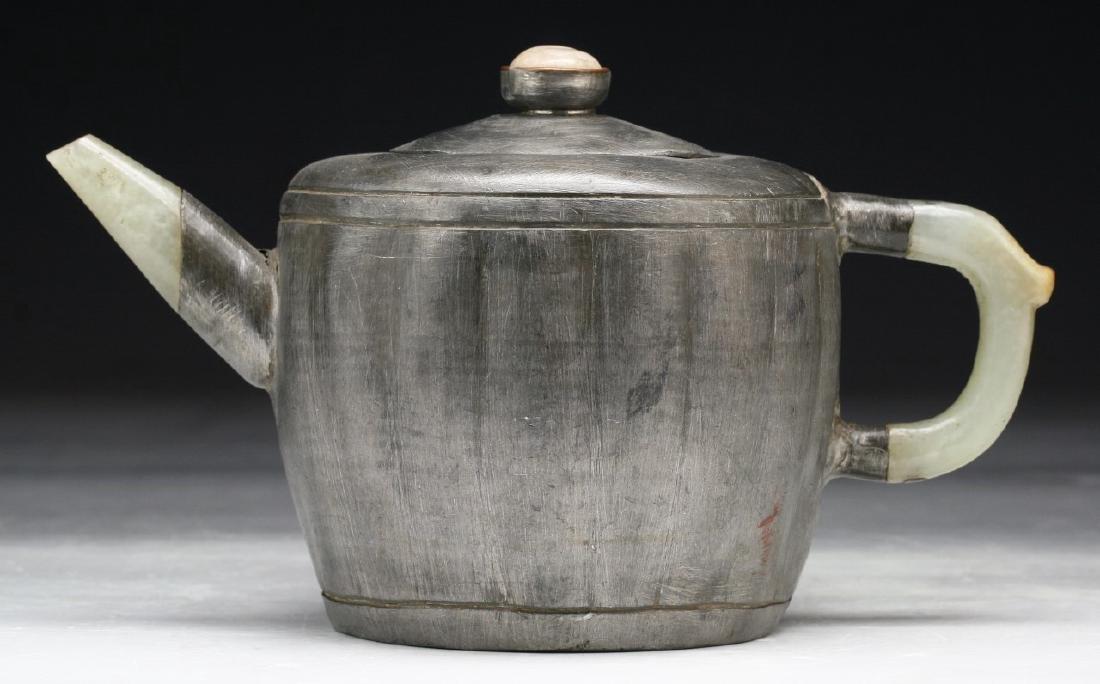 A CHINESE ANTIQUE JADE & TIN TEAPOT