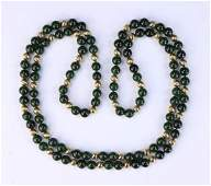 A SPINACH JADE & 14K GOLD BEADED NECKLACE