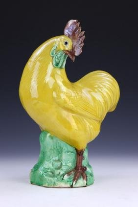 A CHINESE ANTIQUE YELLOW & GREEN GLAZED PORCELAIN