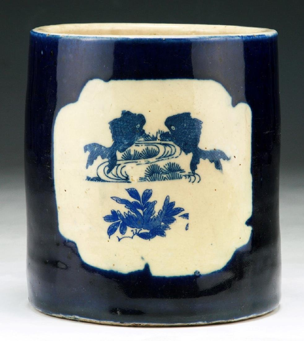 A CHINESE ANTIQUE BLUE & WHITE PORCELAIN BRUSHPOT