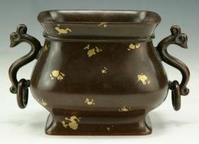 A CHINESE ANTIQUE GOLD SPLASHED BRONZE CENSER