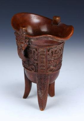 A CHINESE ANTIQUE BAMBOO RITUAL TRIPOD WINE VESSEL, JUE