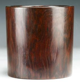 A CHINESE ANTIQUE WOOD CARVED BRUSHPOT