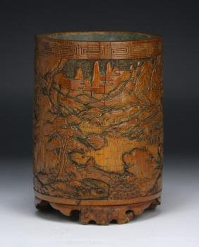 A CHINESE WELL CARVED ANTIQUE BAMBOO CARVED BRUSH POT