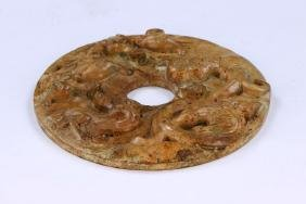 A CHINESE ANTIQUE JADE CARVED BI