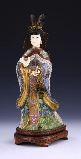 A CHINESE ANTIQUE CLOISONNE & BONE FIGURE GROUP