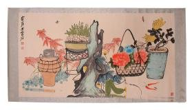 A BIG CHINESE UNMOUNTED PAPER PAINTING BY QI, BAISHI