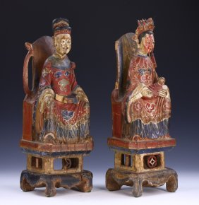 PAIR CHINESE ANTIQUE POLYCHROME WOOD FIGURES