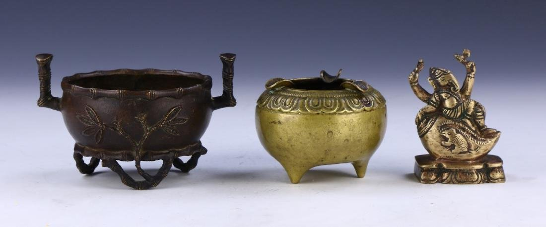 THREE (3) CHINESE ANTIQUE MIXED BRONZE ITEMS