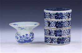 TWO (2) CHINESE ANTIQUE MIXED BLUE & WHITE PORCELAIN