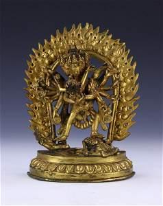 A Tibeto-Chinese Gilt Bronze Figure Of Yamantaka, Jewel
