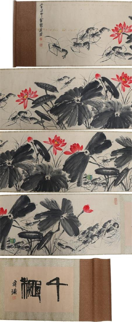 A MASSIVE CHINESE PAPER PAINTING SCROLL BY QI, BAISHI