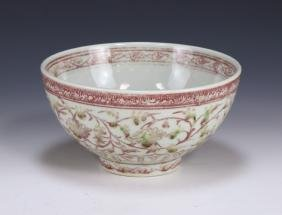 A CHINESE ANTIQUE UNDERGLAZED RED PORCELAIN BOWL