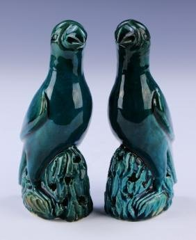 PAIR CHINESE TURQUOISE GLAZED BISCUIT PARROTS