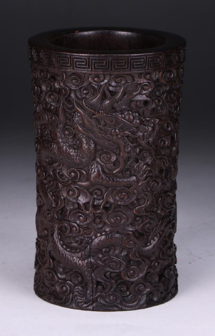 A CHINESE ANTIQUE ZITAN CARVED BRUSHPOT