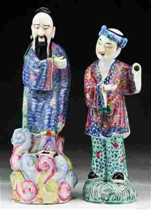 Two 2 Chinese Antique Famille Rose Porcelain Figures