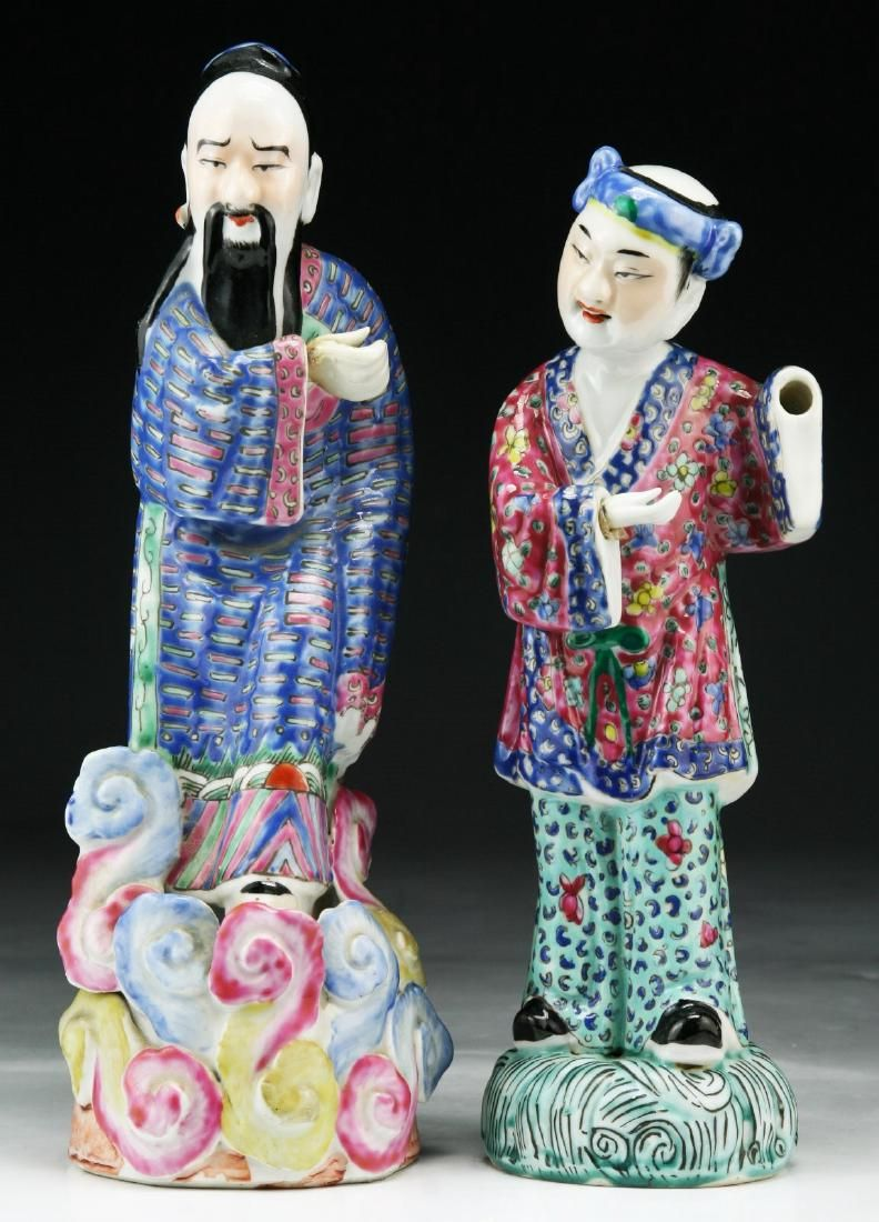 Two (2) Chinese Antique Famille Rose Porcelain Figures