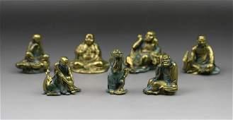 Set Miniature Gilt Bronze Statues of Seven Arhats