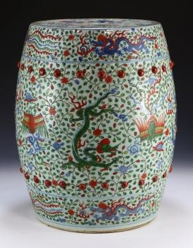 A Chinese Antique Famille Rose Porcelain Stool