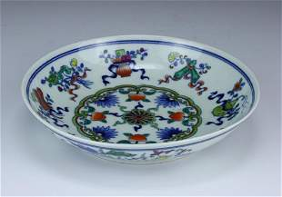 A CHINESE ANTIQUE DOUCAI GLAZED PORCELAIN PLATE