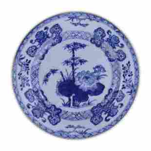 A CHINESE ANTIQUE BLUE WHITE PORCELAIN PLATE