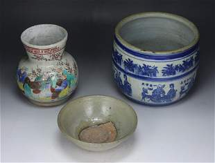 THREE 3 CHINESE ANTIQUE PORCELAIN ITEMS