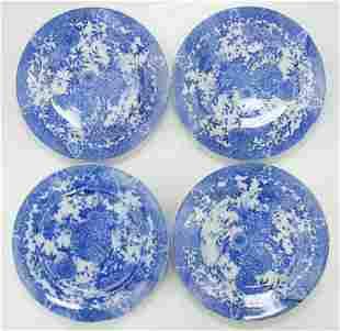 FOUR 4 CHINESE ANTIQUE BLUE WHITE PORCELAIN PLATES