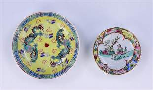 TWO 2 CHINESE ANTIQUE PORCELAIN PLATES