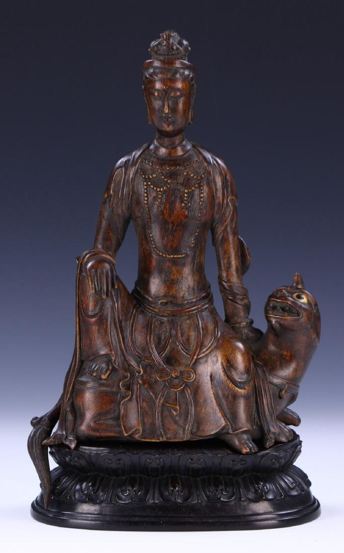 A FINE CHINESE ANTIQUE CHENXIANG WOOD CARVED GUANYIN
